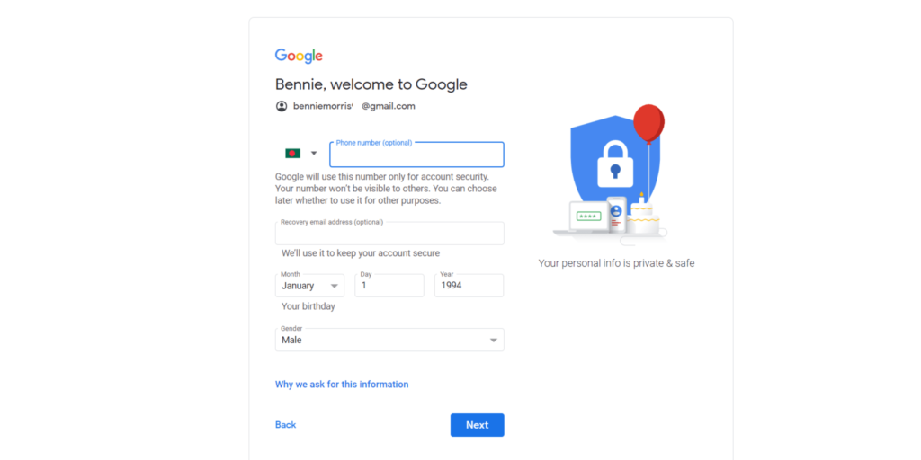 Gmail Account Details and recovery